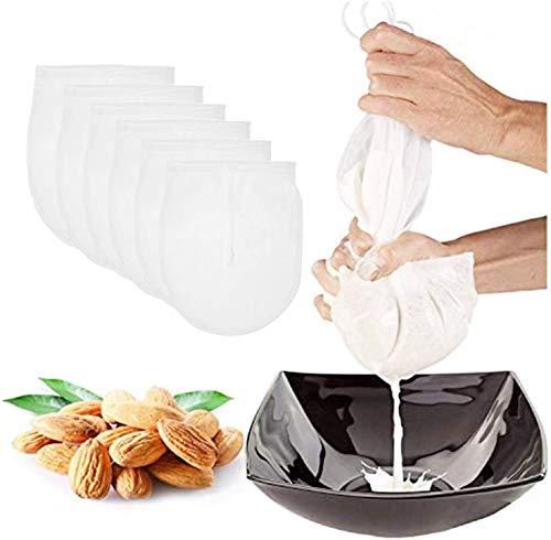 Jiahuade Nussmilchbeutel,Passiertuch Baumwolle,Filtertuchn,Nussbeutel,Feinmaschiges Küchensieb,Robuster Baumwollstoff,Muslin Cloth,Nussmilchbeutel Für Vegane,Vielseitiges Passiertuch(6pack)