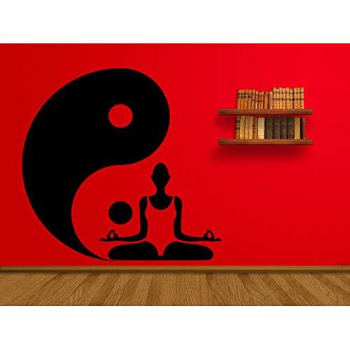 Jixiaosheng Bouddha Studio Mur Yin Yang Motif Lotus Pose Stickers Muraux Vinyle Design Moderne Maison R Art Mural Amovible 57 * 56 Cm