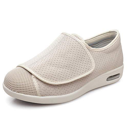 Zapatos ortopédicos quirúrgicos para Mujeres,Zapatos Holgados en valgo del Pulgar, pies deformados Zapatos diabéticos de Apertura completa-37_Beige, Ajustable de Velcro Zapatos