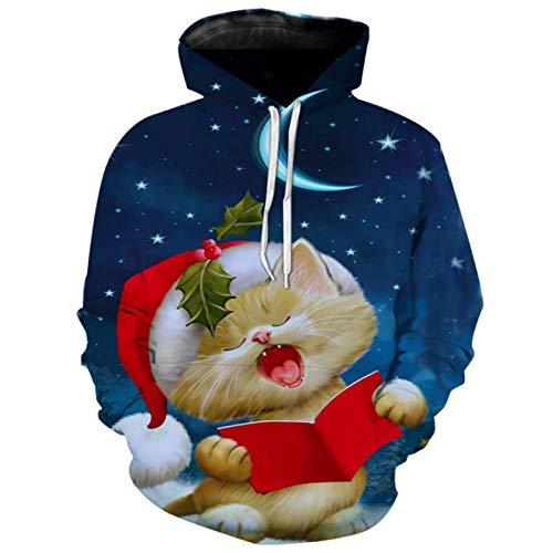 HOSD Digital Peludo Parodia suéter Impreso 3D Impresa Verde Navidad Hombres con Capucha suéter