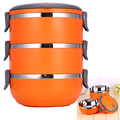 Portapranzo impilabile con manico Contenitore contenitore interno in acciaio inox serbatoio cibo Bento Box 3 strati Arancione