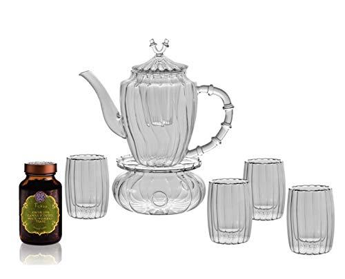 Tichaa Teeservce Lily theepot 950 ml. met glazen theefilter, stoofjes en 4 dubbelwandige theeglazen van 190 ml. Van het fijnste glas - GRATIS: edele kruidentheemengsel 45 g.