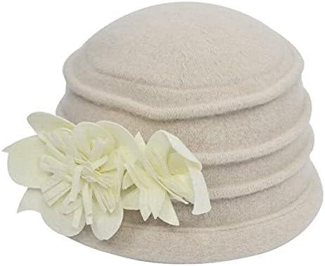 Zboro Women's Fedora Hat Ladies Elegant Wool Flower Hat Winter Vintage Cloche Bucket Cap Woman Party Headwear Chapeau Femme - Milky White - One Size