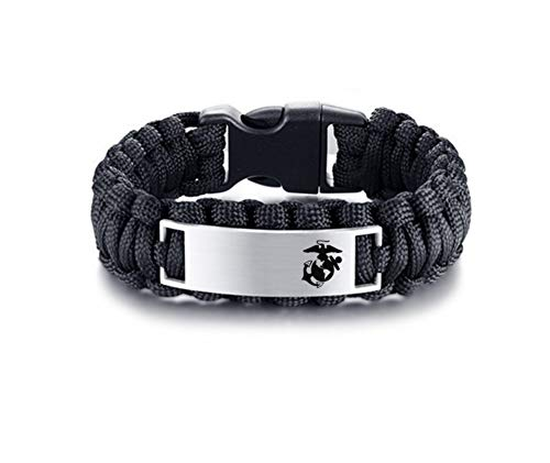 LiFashion LF Marine Corps Gifts - Stainless Steel Personalized Name Custom Armed Forces US Marine Corps Outdoor Rescue Rope Survival Bangle Survival US Marine Bracelets for Men,Free Engraving