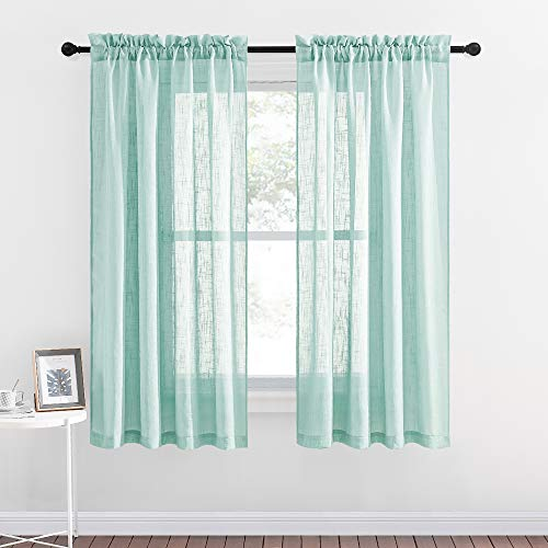 NICETOWN Rod Pocket Sheer Curtains - Privacy Linen Textured Panels Semitransparent Voile Sheer Drapes for Children Room and Bedroom (52W x 63L, Ocean Wave, Double Pieces)