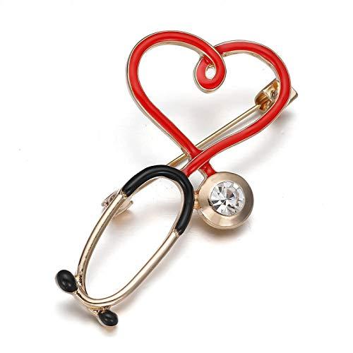 WWWL Broches 2 psc Medicina médica Brooch Pin Estetoscopio electrocardiograma corazón en Forma de Pin Enfermera Doctor Mochila Solapa joyería BP282