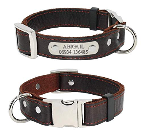 OYASUMI HANDMANDE Hottest! Customized Dog Collars Genuine Leather Dog Puppy Nameplate Collar Adjustable Free Engraved Pet ID Tags for Small Medium Dogs (XS, Brown)