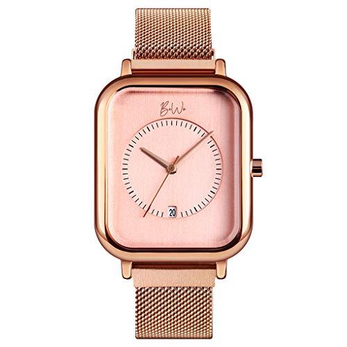 BeWo Reloj de pulsera unisex para hombre y mujer a la moda impermeable simple cuarzo analógico fecha acero inoxidable malla elegante Pulsera MEDIA Oro Rosa Rosa