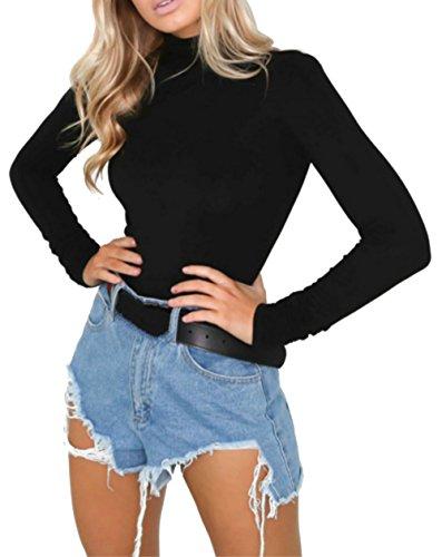 PALINDA Women's Turtleneck Long Sleeve Bodysuit Sexy Bodycon Stretchy Leotards(Black,M