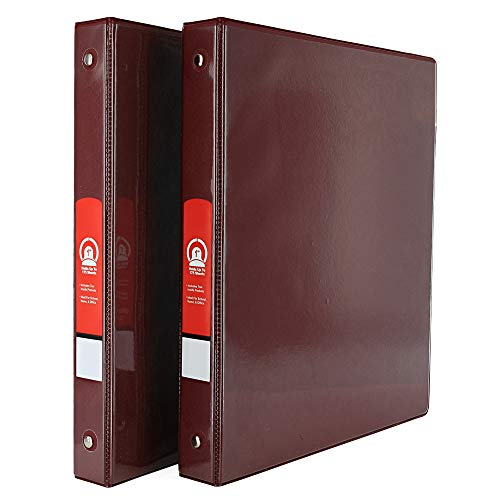 """Emraw Super Great 1"""" 3-Ring View Binder with 2-Pockets - Available in Burgundy - Great for School, Home, & Office (2-Pack)"""