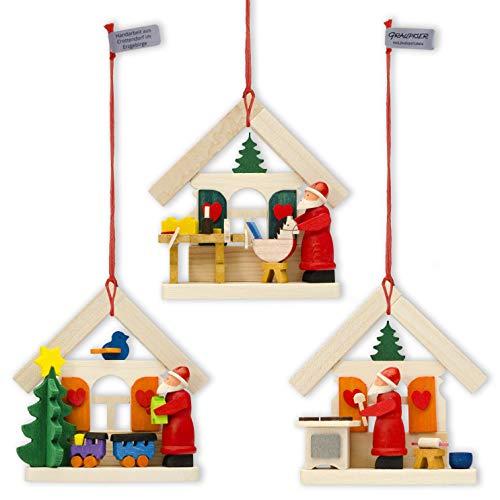 Graupner Holzminiaturen | Decoración para árbol de Navidad con Papá Noel, juego de 3 piezas de madera, arte original de los Montes Metálicos, artesanía de alta calidad, idea de regalo y decoración