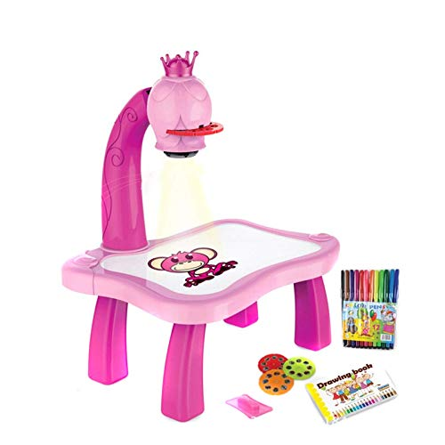 BayColor BAYDELKU Child Learning Desk with Smart Projector Drawing Desk Projection Drawing Board Painting Set with Light & Music Tracing Desk Learn to Draw Sketch Educational (Pink)