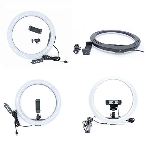 Ring Light with Stand and Phone Holder for iPhone Samsung Online Lesson,Video Recording,YouTube,Live Streaming