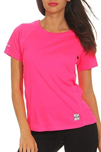 Happy Clothing Damen Sport T-Shirt Kurzarm Trikot Sommer Funktionsshirt Fitness Top, Größe:L, Farbe:Pink