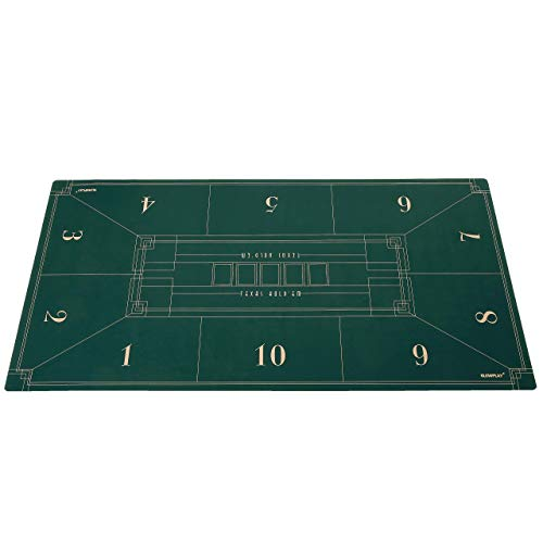 SLOWPLAY Nash Texas Hold'Em Pokermatte I Tragbarer pokertischauflage mit einem Art Deco Layout Print, 180x90cm
