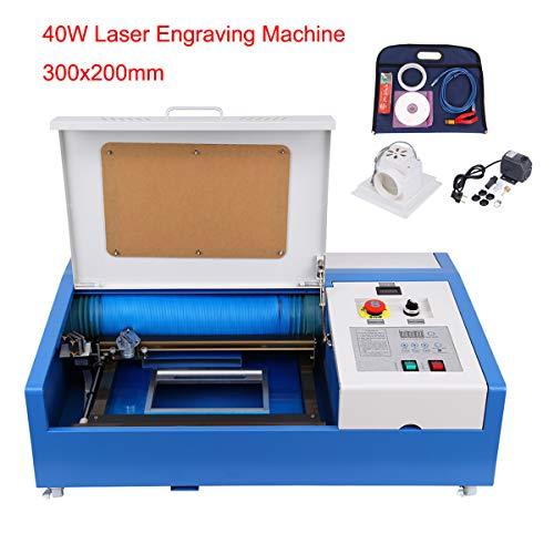 Yonntech 40W Lasergravurmaschine 12x8 Inch Graviermaschine mit USB-Anschluss CO2 Lasergravierer Laser Engraver für Leder Holz Acryl usw Laser Cutter