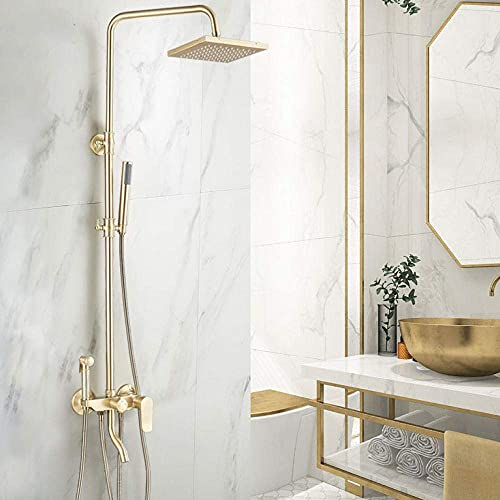 Grifo de ducha de oro cepillado Grifo de ducha de lluvia Grifo mezclador de bañera con ducha de mano Ducha de baño Grifo mezclador de agua Juegos de ducha