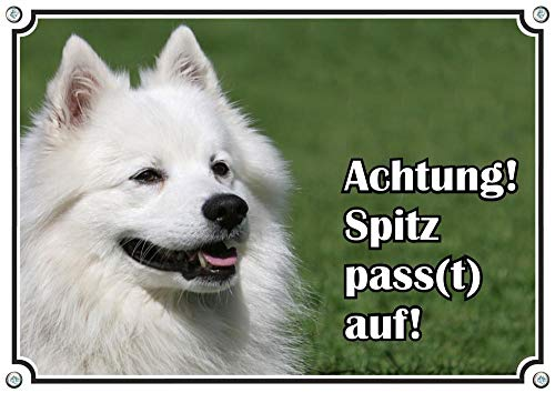 Petsigns Hundewarnschild Großspitz - Spitz Pass(t) auf! uv-beständiges Metallschild, DIN A5