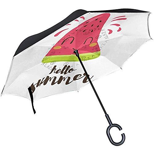 Wheatleya Ombrello Ombrelli inverso per Auto Protezione Antivento Pieghevole con Impugnatura a Forma di c Ciao Cocomero Estivo