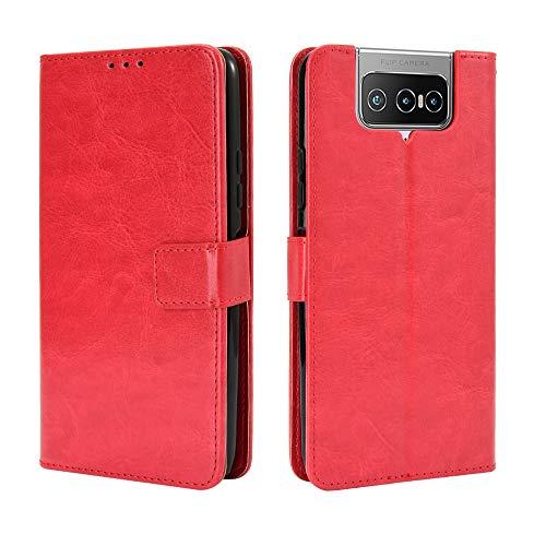 Lederhülle für Asus Zenfone 7 Pro ZS671KS Hülle, Flip Hülle Schutzhülle Handy mit Kartenfach Stand & Magnet Funktion als Brieftasche, Tasche Cover Etui Handyhülle für Zenfone 7 Pro ZS671KS, Rot