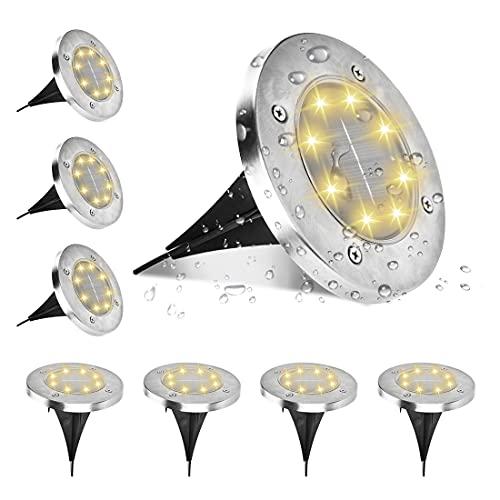 MINLUK Luci Solari da Giardino, 8Pcs Luce Solare Esterno Luci Solari da Terra 8 LEDs Luce a Calda Luci Solari per Giardino Esterno Faretti Solari IP65 Impermeabile per Prato,Giardino,Cortile,Paesaggio