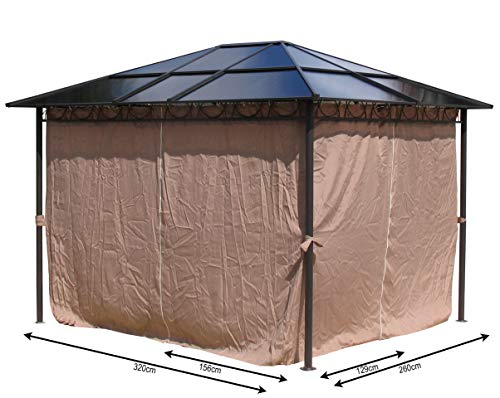 QUICK STAR 4 Seitenteile für Hardtop Pavillon 3x3,6m Seitenwandset Sichtschutz Vorhänge
