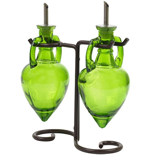 Lime Green G221VF Olive Oil Vinegar Dish Wash Soap Dispensers, Decorative Colored Glass Cruet Bottles with Cork, Spout and Black Metal Stand. Romantic Decor & More