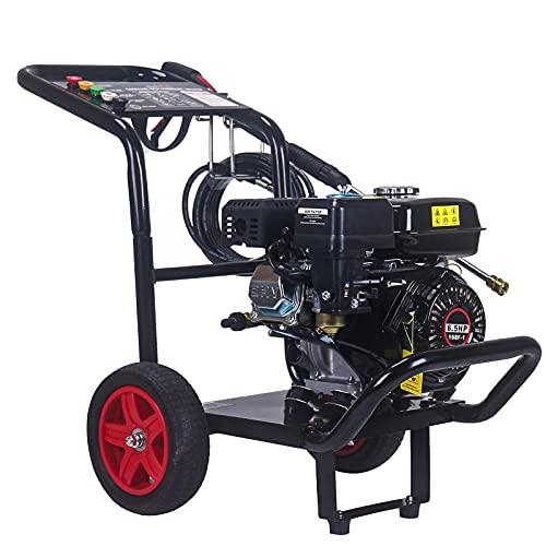 エンジン 高圧洗浄機 電源不要 18MPa 5つの噴射パターン エンジン式 高圧洗浄機 エンジン 高圧洗浄機車輪付 6.5HP 自吸 水道直結 農機具 洗車 強力 洗浄