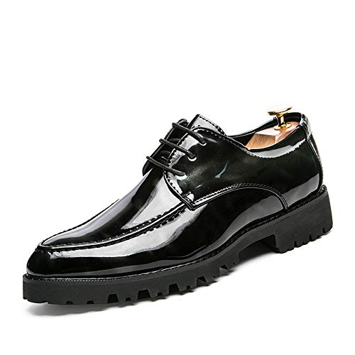 Casual Suede Shoe Business Oxford der Männer zufälliger Pinnacle-britischer Art und Weisepersönlichkeit atmet Lackleder-Formale Schuhe Herren Sneaker (Color : Blue Black, Size : 42 EU)