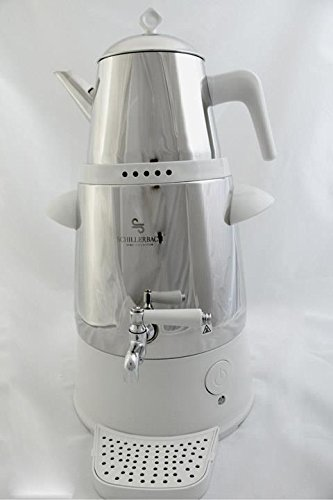 Schillerbach Firuze Samovar Weiss/Metall Semaver Teemaschine