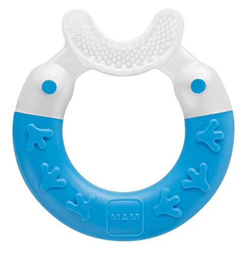 MAM Beißring Bite & Brush, Baby Zahnungshilfe beruhigt das Zahnfleisch, unterstützt die Zahnpflege mit extra-weichen Borsten, blau, ab 3+ Monate