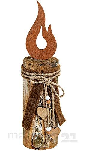 matches21 Holz-Deko bestehend aus Holzpfahl und Kerzenflamme aus Metall/Metallflamme mit Schleife 8x8x35 cm