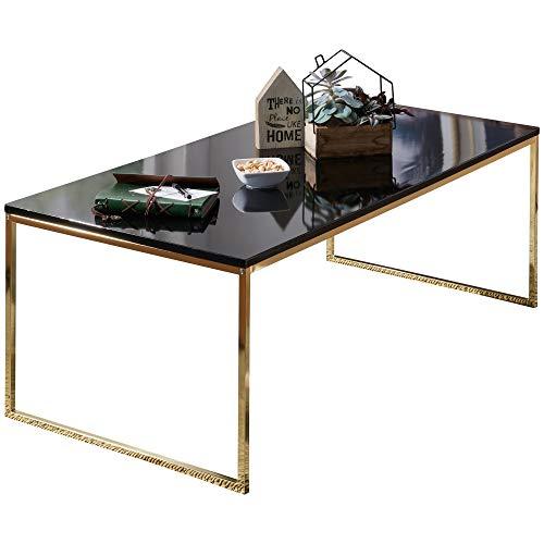 FineBuy Couchtisch RAVI 120x45x60 cm Metall Holz Sofatisch Schwarz/Gold | Design Wohnzimmertisch rechteckig | Stubentisch mit Metallgestell | Kaffeetisch klein | Wohnzimmer Loungetisch modern