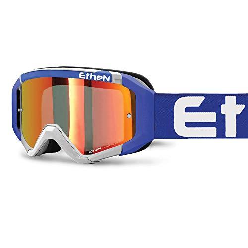Occhiali Maschera Motocross e Enduro, Lente Cilindrica Specchiata Silver