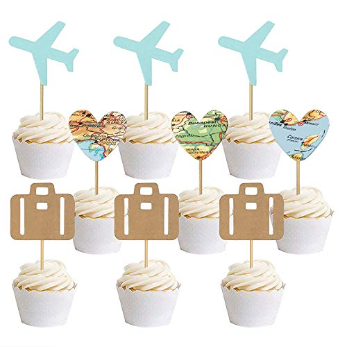 30 PCS Airplane Cupcake Toppers Map Heart Traveling Case Cake Toppers Picks for World Awaits Travel Themed Baby Shower Party Decorations