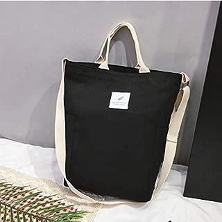 Fashion Single-Shoulder Bags Casual Solid Color Canvas Shoulder Diagonal Bag Large Capacity Backpack Bag (Black) (Color : Black)