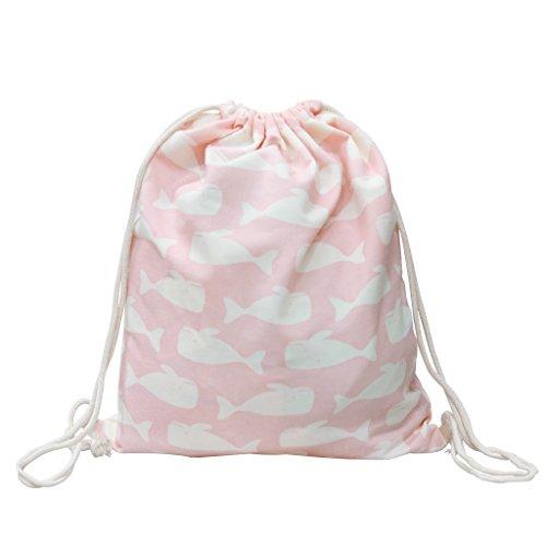 Canvas Turnbeutel Sportbeutel Rucksack Schultaschen Backpack Wal Pink