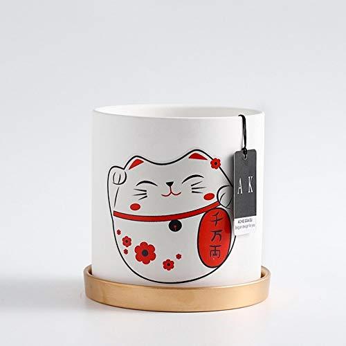 Bcaer Macetero de cerámica simple literario de cerámica redonda cuenca personalidad de gato de la suerte, florero verde con agujeros con bandeja Macetas modernas y minimalistas carnosas (color: rojo)