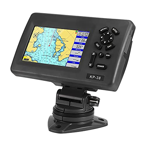 RBSD Navegador GPS, Navegador GPS para Barcos Marinos de 5 Pulgadas, Localizador GPS Pantalla LCD Trazador de gráficos con transpondedor AIS Clase B para Yates Barcos de Pesca, Localizador GPS Marino