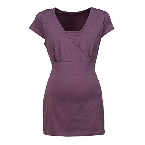 2HEARTS T-Shirt de Grossesse et d'allaitement Cache-Coeur T-Shirt de Grossesse T-Shirt de Grossesse, Black Plum