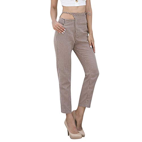 JERFER Mode Frauen Plaid Hose Damen Sommer locker lässig Fitnessstudio täglich Khakifarbene Hosen