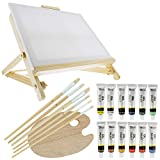 US Art Supply 21-Piece Oil Painting Table Easel Set with, 12-Tubes Acrylic...