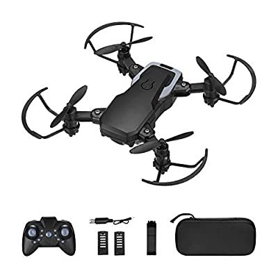 Powerextra Foldable WIFI 720P HD Mini Drone with Camera,Drone with Camera with 2.4Ghz Remote Control Headless Mode,Altitude Hold,Emergency Stop,APP control,Gesture Shooting,Drone for Adults