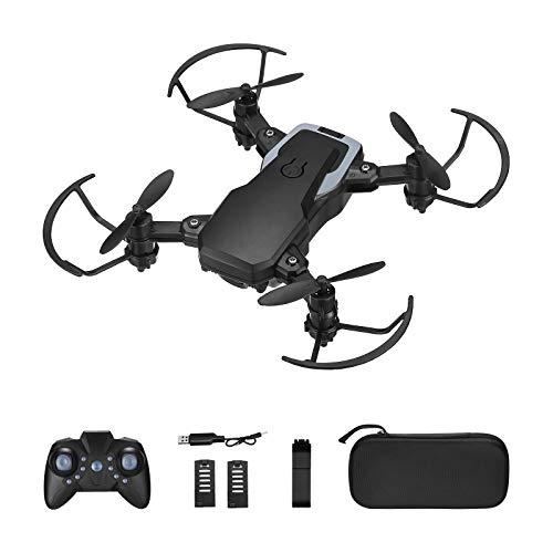Powerextra Mini Drone con Cámara 3 x Baterías para Principiantes - Mini Drone Plegable con Control Remoto HD WiFi Cámara FPV 2.4 GHz Flips 3D y Función de Giro con Bolsa de Almacenamiento