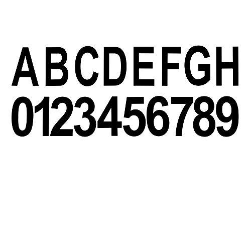Telefunken - Hausnummern-Set, inkl. je 3x 0-9 und 1x A-H, Aufkleber, IP44, Schwarz, ca. 50x75mm (BxH)
