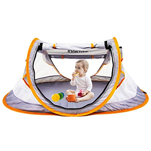 Pop Up Baby Beach Tent,UPF 50+Sun Shelter, Infant Portable Mosquito Net and Sunshade for Baby Crib, Travel Bed with 2 Pegs, Lightweight