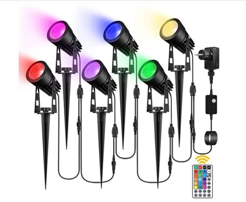 H HUKOER Luces de Paisaje, focos de Exterior RGB a Prueba de Agua IP66, Luces de Pinchos de jardín con Control Remoto para decoración de Exterior de césped de Patio