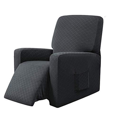 E EBETA Sessel-Überwürfe Sesselschoner, Stretchhusse für Relaxsessel Komplett, Schutzhülle aus elastischem Sessel Ohrensessel (Dunkelgrau)
