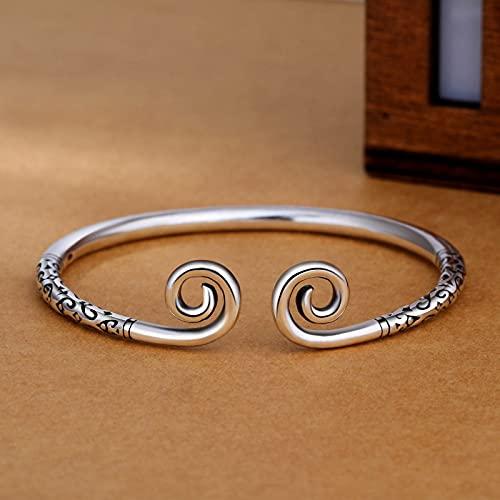 Elnker 925 Sterling Silver Bangles Lettering Handmade for Women Size Adjustable