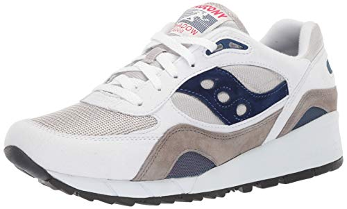 Saucony mens Shadow 6000 Sneaker, White/Grey/Navy, 9.5 US